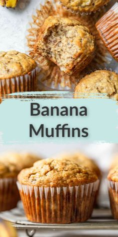 Banana muffins are your favorite banana bread packed in a single-serve easy to eat portable treat! These banana muffins are delicious, easy to make, packed with flavor, and ready in about 30 minutes. The perfect way to use up overripe bananas! Easy Desserts, Delicious Desserts, Dessert Recipes, Yummy Food, Cupcakes, Cupcake Cakes, Banana Bread Recipes, Easy Banana Bread Muffins, Best Banana Muffin Recipe