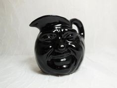 Face Pitcher  Antique Folk Art Pottery Toby Style by CraveCute