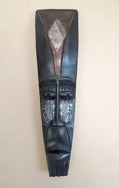African mask - hand carved in Ghana - vintage - rustic - exotic home decor - primitive carved wood. $50.00, via Etsy.
