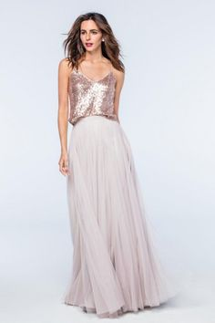 Size 10 Rose Gold Style 2301 from Watters is the separate sparkling Zoe tank. This spaghetti strap tank top of Eclat Sequin Fabric gives a chic feminine twist to any look. Skirts are sold separately. Please note that shipping is free if you order this top with a matching skirt.