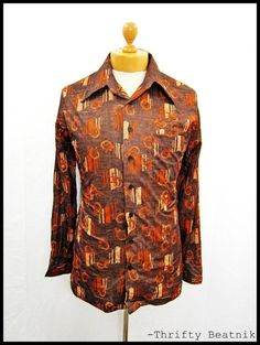 Vintage 1970s 70s AMAZING Brown Pattern Disco Indie Pattern Shirt Medium | eBay