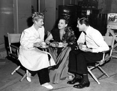 """*Lucille Ball* having tea on the set of """"Two Smart People"""""""