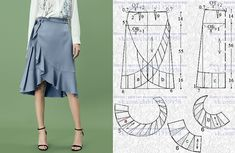 Sewing Pattern Womens Wrap Skirt Pattern Misses Wrap Skirt Skirt Patterns Sewing, Clothing Patterns, Coat Patterns, Blouse Patterns, Fashion Sewing, Diy Fashion, Moda Fashion, Sewing Clothes, Diy Clothes