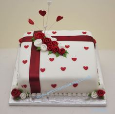 [ Anniversary Cake Gallery Cakes ] - Best Free Home Design Idea & Inspiration Simple Anniversary Cakes, 40th Wedding Anniversary Cake, Anniversary Cake Designs, Anniversary Crafts, Anniversary Scrapbook, Ruby Anniversary, Ruby Wedding Cake, Wedding Cakes, Rose Wedding