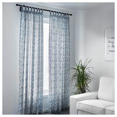 MJÖLKÖRT Curtains, 1 pair Blue/white 145x250 cm  - IKEA