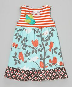 Loving this Aqua & Orange Bird Ruffle Babydoll Dress - Toddler & Girls on #zulily! #zulilyfinds