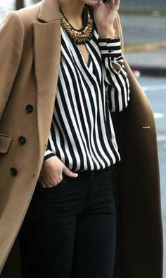 Love the VERTICAL black and white stripes and classic camel coat.