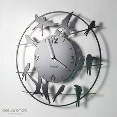 "Metal Wall clock BIRDY - 40 cm / 16"" - Laser cutting design - © Tolonensis Creation"