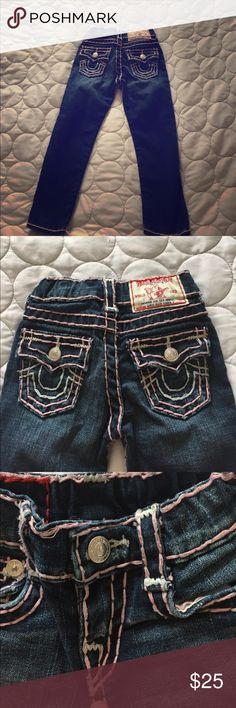 Little girls jeans Little girls size for true religion jeans stitched in light pink and white in good condition only wore a few times True Religion Bottoms Jeans