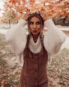 corduroy brown overall dress with white puff sleeve knit sweater fall outfit inspiration cute autumn outfits what to wear during the fall Cute Fall Outfits, Winter Outfits, Pretty Outfits, Stylish Outfits, Mode Outfits, Fashion Outfits, Fashion Mode, Womens Fashion, Ideas Para Photoshoot