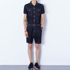 f35f75077a8 Men s Short Sleeve Summer Denim Rompers. Denim RomperHarem ShortsJeans JumpsuitShort  JumpsuitDenim OverallsStreetwearSummer MenSuspender PantsMen s Style