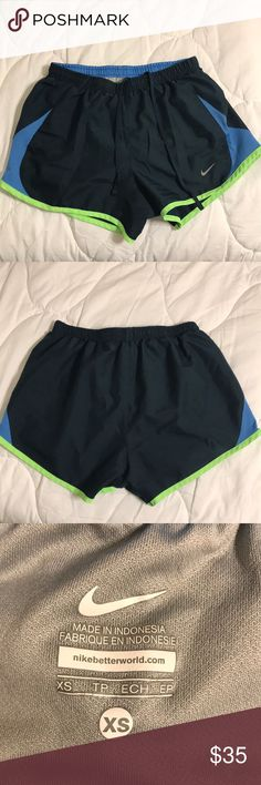 Nike Running Shorts These are my favorite pairs of running shorts. I am very pale and i absolutely look be the colors on me which is hard to at times if things are neon like the green at the bottom. They are in great condition! I am selling because they are way too small for me now. Nike Shorts