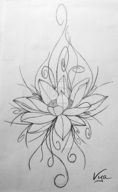Flower tattoo sketches and drawings flower tattoo design by Cross Tattoo Designs, Tattoo Sleeve Designs, Flower Tattoo Designs, Sleeve Tattoos, Back Of Neck Tattoo, Flower Tattoo Back, Flower Tattoos, Waterlilly Tattoo, Tattoo Sketches