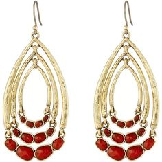 Lucky Brand Gold and Red Multi Hoop Drop Earrings Earring (2.185 RUB) ❤ liked on Polyvore featuring jewelry, earrings, gold, gold hoop earrings, yellow gold hoop earrings, lucky brand jewelry, hoop earrings and gold hook earrings