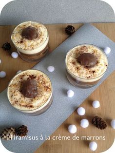 tiramisu à crème de marrons : une vingtaine de biscuits à la cuillère – lait + chocolat en poudre – 6 belles cuillères à soupe de crème de marrons – 3 oeufs – 2 cs de sucre – 250g de mascarpone – chocolat en poudre, marrons glacés et vermicelles dorés pour la déco