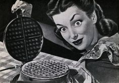 There's no waffling about waffles: people love them! Covered in syrup, filled with fruit, piled high with ice cream or served with fried chicken, Americans love waffles. The Waffle House alone, … Funny Commercials, Funny Ads, Wtf Funny, Funny Memes, Creepy Vintage, Vintage Ads, Funny Vintage, Vintage Advertisements, National Waffle Day