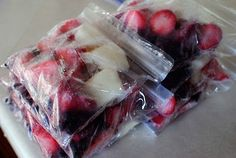Make-Ahead Freezer Smoothie Packs. 1 cup frozen fruit, 2 plain frozen yogurt cubes, then simply put in a blender, add milk or juice, and whirl until smooth.  Great idea,