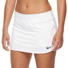 Women's Nike Pure Dri-FIT Tennis Skort ($50) ❤ liked on Polyvore featuring activewear, activewear skirts, white, tennis skirt, nike, golf skirt, nike sportswear and white golf skirt