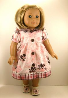 18 Inch Doll Clothes American Girl Casual Dress Pink  and Brown Print Floral and Plaid girls toy. $20.00, via Etsy.