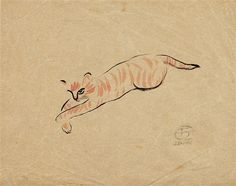 Sanyu (Chinese/French, 1901-1966). Le chat. Watercolor and ink on paper.