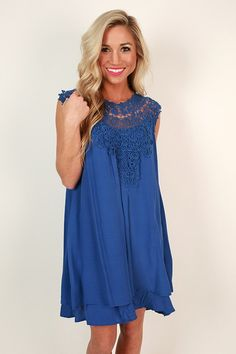 Evening With the Royals Shift Dress in Royal Blue