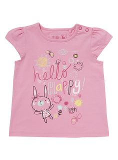 Boys Girls Pink Hello Happy T-Shirt months) Baby Boy Outfits, Kids Outfits, Junior Girls Clothing, Baby Girl Tops, Summer Shirts, Little Girl Dresses, Boys Shirts, Kids Wear, Baby Kids