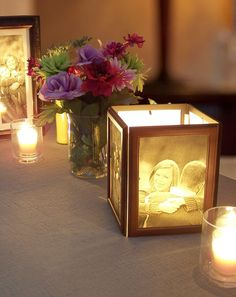 How to Make Photo Centerpieces with Candles - My Wedding Reception Ideas | Blog #howtomakeweddingcenterpieces