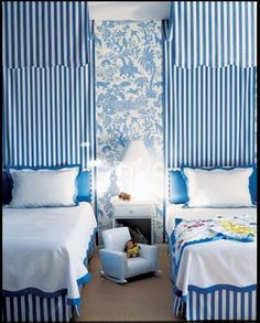 stripes, wallpaper, twin beds, blue and white