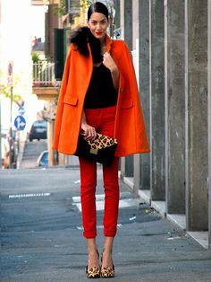 Konstantina Tzagaraki: Bright orange, black and leopard print.