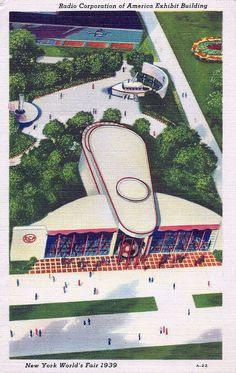The 1939 New York World's Fair - The Radio Corporation Of America (RCA) Exhibit Building Shaped Like A Giant Radio Tube.
