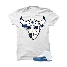 3e8e32e63433f3 Jordan 12 French Blue White T Shirt (Jason Bulls Head) Blue Sneakers