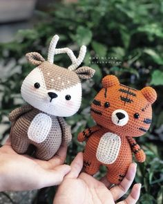 Combo 2 Little Tiger & Little Deer Crochet PDF pattern image 1 Kawaii Crochet, Crochet Gratis, Crochet Geek, Cute Crochet, Easy Crochet, Knit Crochet, Crochet Animal Patterns, Stuffed Animal Patterns, Crochet Patterns Amigurumi