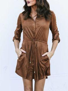 4eb088ebb14 Fold-Over Collar Drawstring Plain Shift Dress