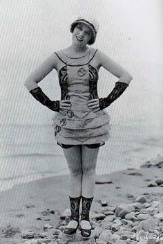In the early 1900's women were required by law to be covered from head to toe for 'bathing