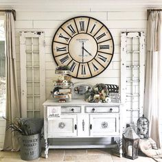 59 Modern Farmhouse Living Rooms That Will Brighten Your Home Decor Living Room Clocks, Living Room Decor, Living Rooms, Magnolia Home Collection, Entryway Decor, Wall Decor, Home Clock, Blessed, Country Farmhouse Decor