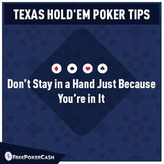 #PokerTips - You cannot win just by putting money in the pot. If you're losing, it's advisable to get up before losing all the money.