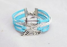 Cursive LoveInfinity Wish Anchor Bracelet Light Blue by Colorbody, $9.99
