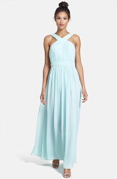 ML Monique Lhuillier Bridesmaids Crisscross Chiffon Gown (Nordstrom Exclusive) available at #Nordstrom