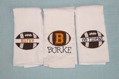 Set of 3 Football Boy Burp Cloths
