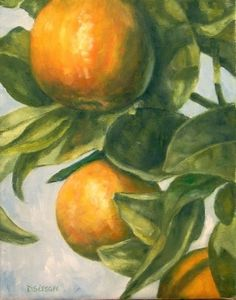 Oranges Naturally Oil Painting Citrus Fruit Tree Plants, painting by artist Debra Sisson