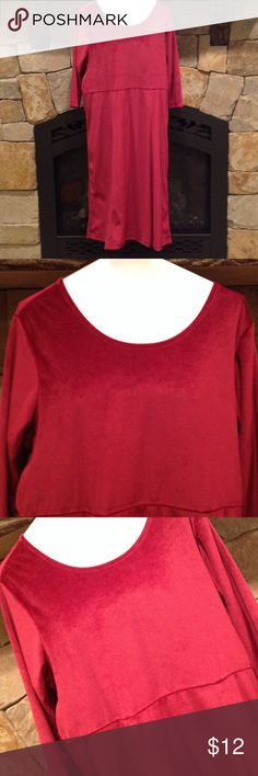 Cranberry Velour 3/4 sleeve dress 100% polyester, dress length is 45 inches Blair Dresses Midi