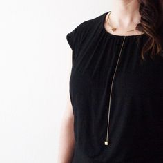 Eos Necklace - Brass Collar and Drop