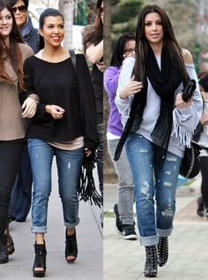 the slouchy top, ripped jeans, booties look