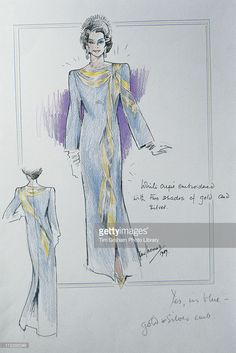 Sketch of a dress designed for Queen Elizabeth II, by fashion designer Ian Thomas, 25 September 1990.