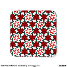 Red Star Pattern on Stickers