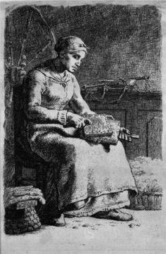Woman Carding Wool - Jean-Francois Millet