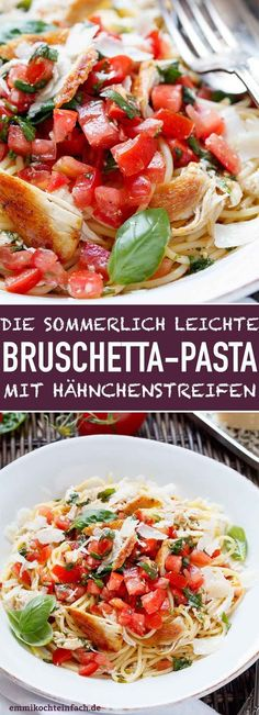 Bruschetta pasta with chicken strips - easy to cook- Bruschetta Pasta with Chicken Stripes The simple and delicious pasta recipe. The summerly light after-work kitchen with fresh tomatoes, basil and chicken breast fillet. Yummy Pasta Recipes, Salad Recipes For Dinner, Chicken Salad Recipes, Chicken Pasta, Healthy Salad Recipes, Casserole Recipes, Crockpot Recipes, Vegetarian Recipes, Shrimp Pasta