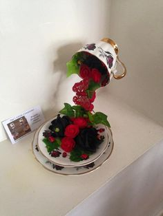 Floating Teacup and saucer by sueshomelycreations on Etsy