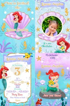 Electronic Video Card Invitation Baby Little Mermaid Ariel Electronic Save The Date, Electronic Cards, Electronic Invitations, Digital Invitations, Invitation Cards, Party Invitations, Ariel Bebe, Father's Day Card Template, Gift Card Bouquet