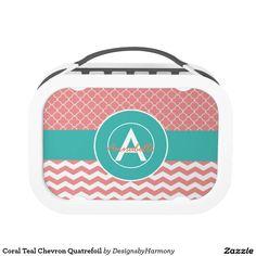 Coral Teal Chevron Quatrefoil Lunch Box
